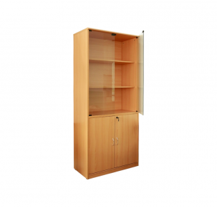 Full Height wooden  Cabinet With Glass Swing Door