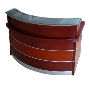 Custom Made Reception Desk with Glass on Top