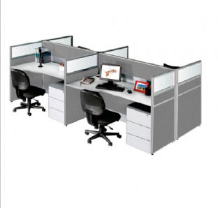 Cluster of  four face to face  Work Station with fabric and Glass partition