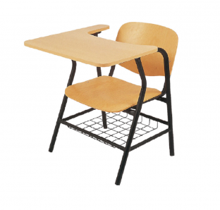 Isoscele chair with writing pad and Basket