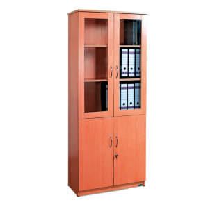 BFT-Full Height Cabinet With Glass Door on Top and Wooden Door