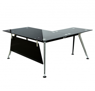 TF 198 L-Shape Desk in Glass On Top